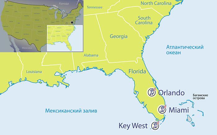 Карта Мыс Канаверал - Соединенные Штаты - Gosur com